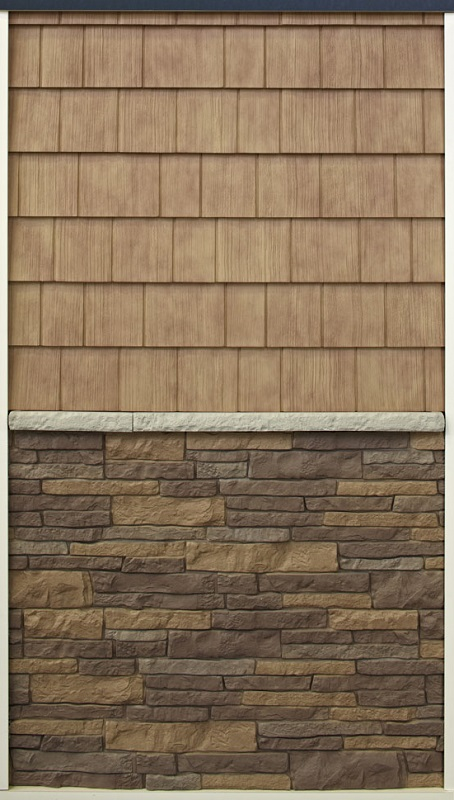 Nailite Rough Sawn Cedar и Stacked Stone Орех